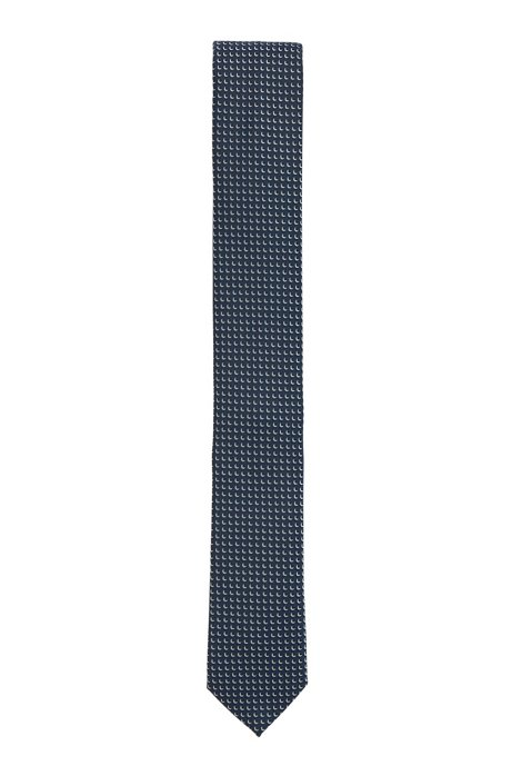 Italian-made patterned tie in recycled fabric, Dark Blue