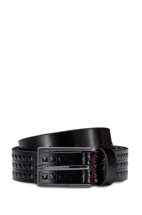 Leather belt with embossed pyramid studs, Black
