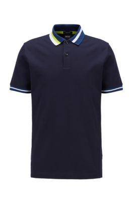 Cotton polo shirt with asymmetric collar stripes, Dark Blue