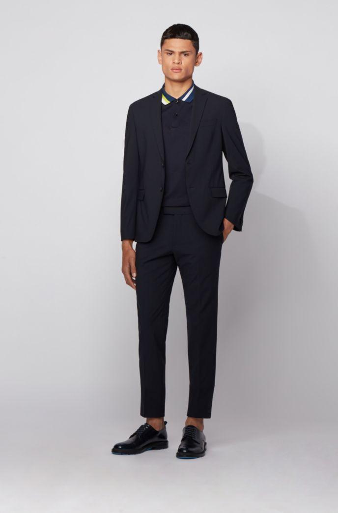 Cotton polo shirt with asymmetric collar stripes