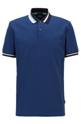 Cotton polo shirt with asymmetric collar stripes, Dark Blue