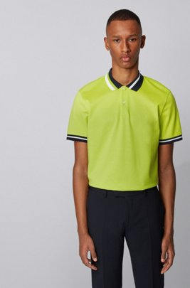 Cotton polo shirt with asymmetric collar stripes, Yellow