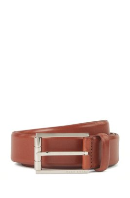 Leather belt with engraved pin buckle, Brown