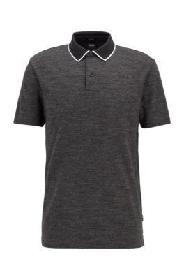 Slim-fit polo shirt in cotton with heathered stripes, Black