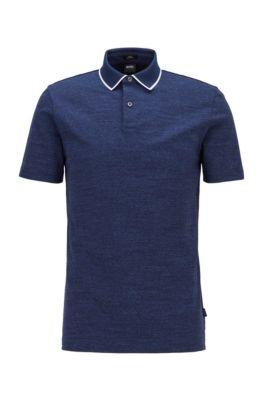 Polo Slim Fit en coton, à rayures chinées, bleu clair