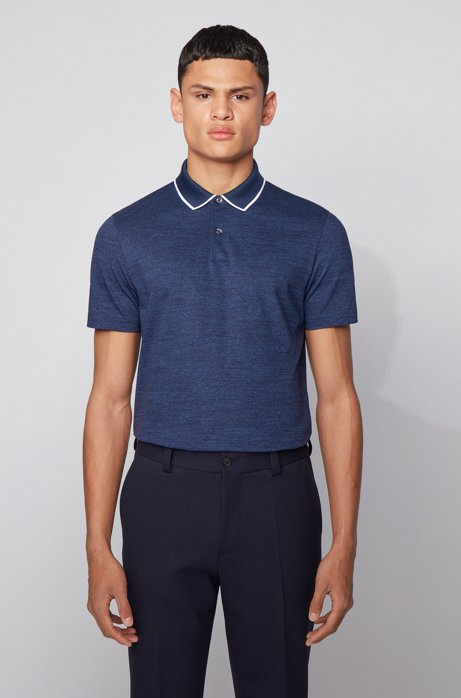 Slim-fit polo shirt in cotton with heathered stripes, Light Blue