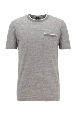 Slim-fit T-shirt in cotton with heathered stripes, Light Grey