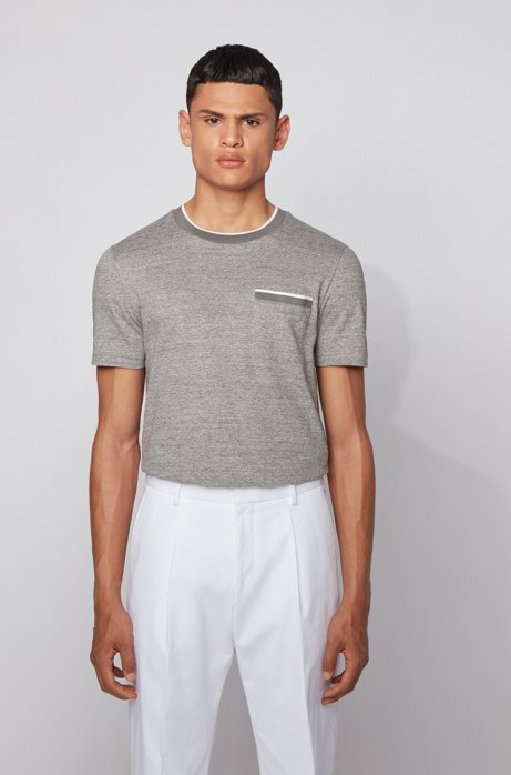 Slim-fit polo shirt in cotton with heathered stripes, Light Grey