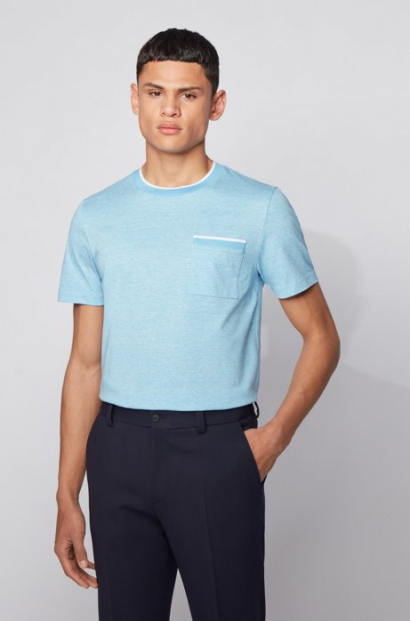 Slim-fit T-shirt in cotton with heathered stripes, Turquoise
