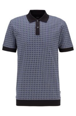 Seasonal-patterned polo shirt in cotton jacquard, Light Blue
