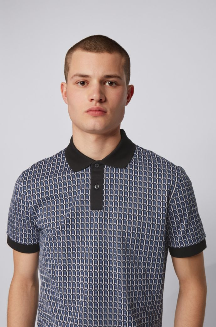 Seasonal-patterned polo shirt in cotton jacquard