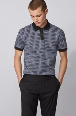 Seasonal-patterned polo shirt in cotton jacquard, Light Blue