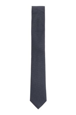Handmade tie in a micro-patterned silk-blend jacquard, Dark Blue