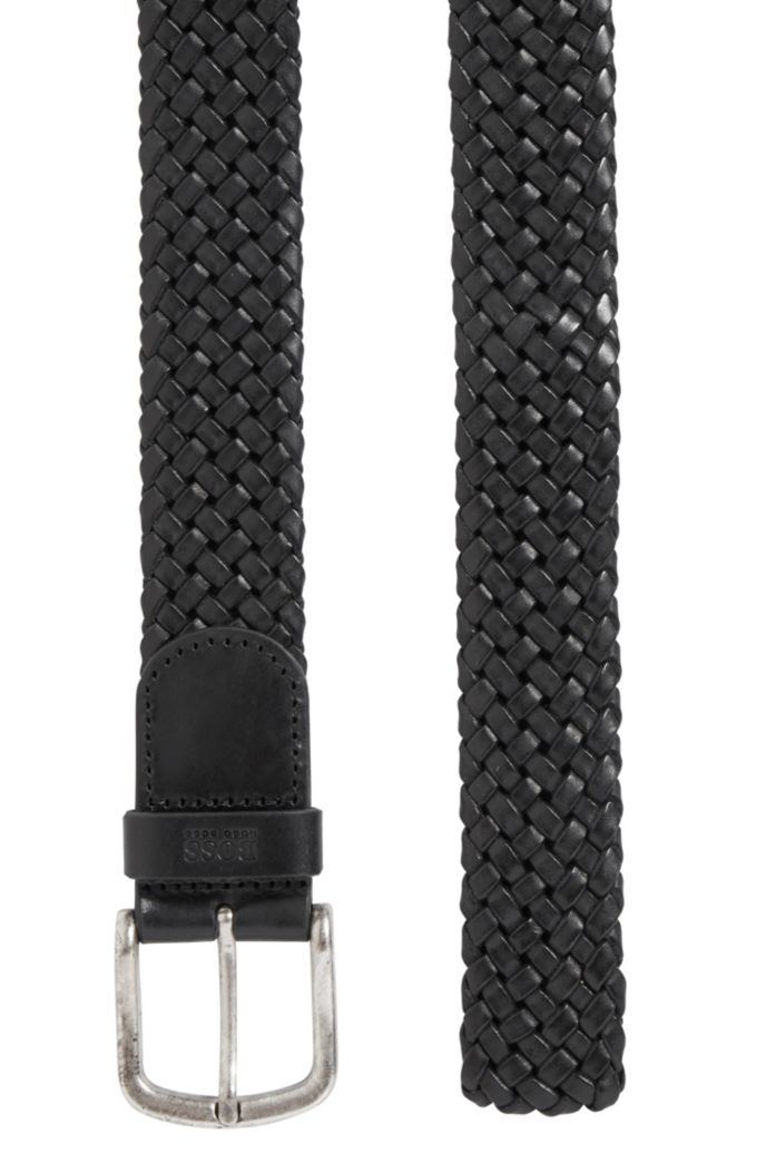 Woven-leather belt with logo-stamped keeper