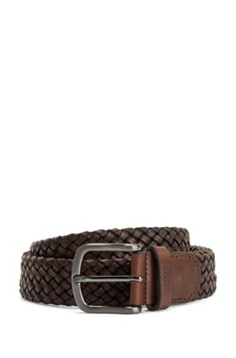 Woven-leather belt with logo-stamped keeper, Dark Brown