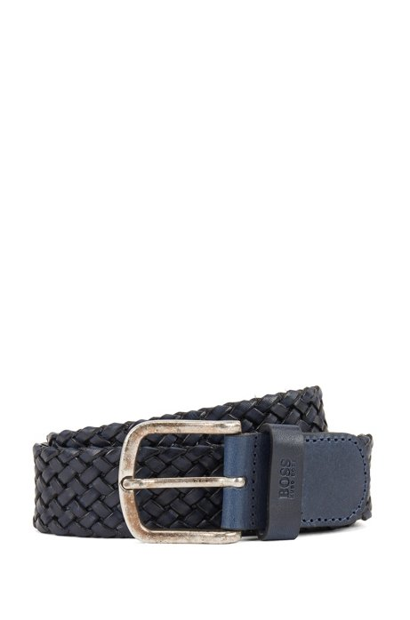 Woven-leather belt with logo-stamped keeper, Dark Blue