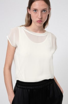 Two-in-one top with chiffon overlay, White