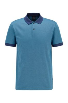Slim-fit polo shirt in micro-patterned cotton, Dark Blue