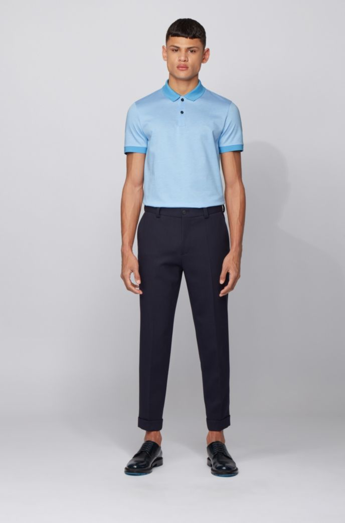 Slim-fit polo shirt in micro-patterned cotton