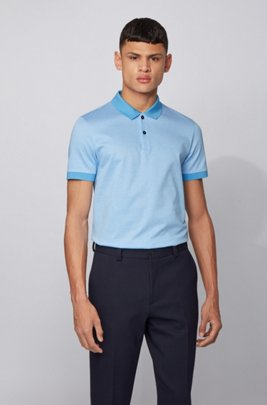 Slim-fit polo shirt in micro-patterned cotton, Turquoise