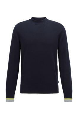 Cotton sweater with striped cuffs, Dark Blue