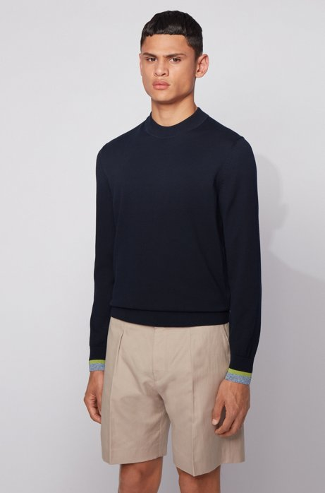 Cotton sweater with striped cuffs, Dark Blue