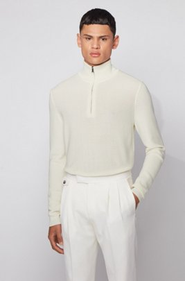 Knitted sweater in structured cotton with quarter zip, White