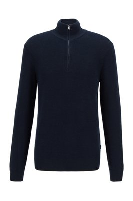 Knitted sweater in structured cotton with quarter zip, Dark Blue