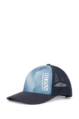 Mixed-material cap with seasonal graphic pattern, Dark Blue