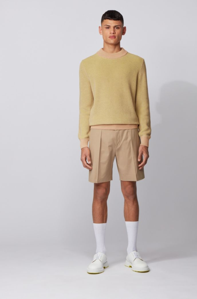 Knitted sweater in mouliné cotton and linen