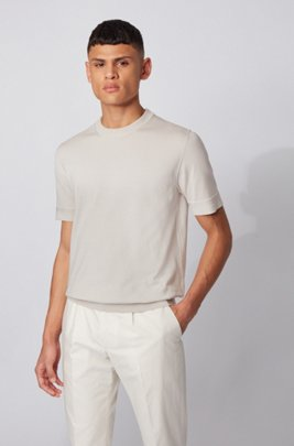 Short-sleeved knitted sweater with micro-structured stripes, White