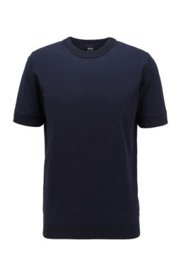 Short-sleeved knitted sweater with micro-structured stripes, Dark Blue