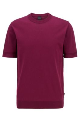 Hugo Boss HUGO BOSS - SHORT SLEEVED KNITTED SWEATER WITH MICRO STRUCTURED STRIPES - PURPLE