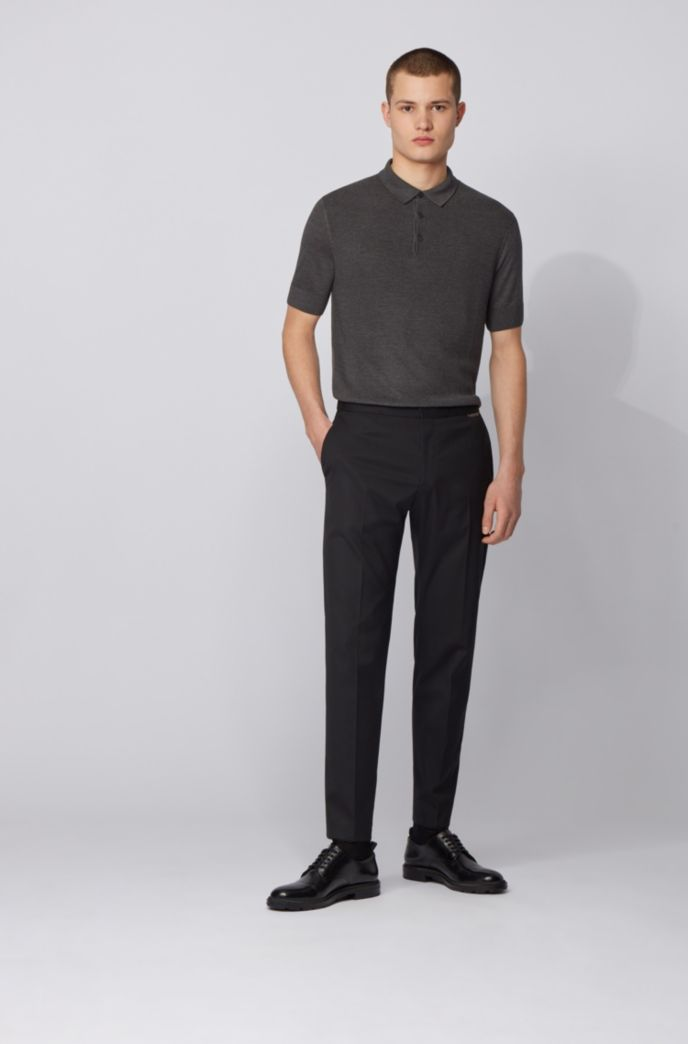 Short-sleeved silk-blend sweater with polo collar