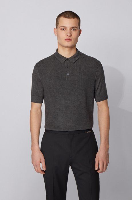 Short-sleeved silk-blend sweater with polo collar, Grey