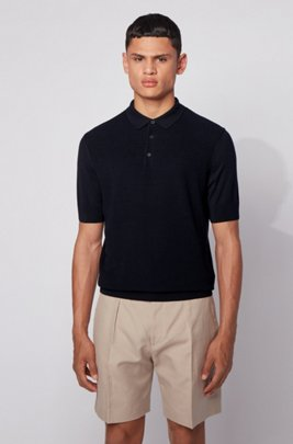 Short-sleeved silk-blend sweater with polo collar, Dark Blue
