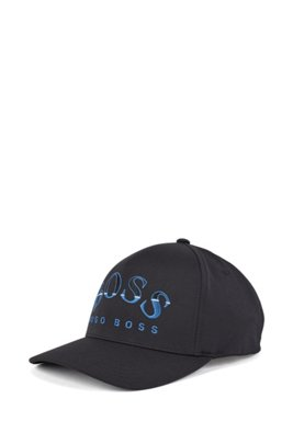 Technical-twill cap with embroidered curved logo, Black