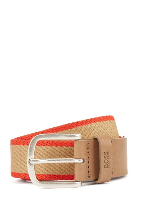 Reversible belt in fabric and leather, Khaki