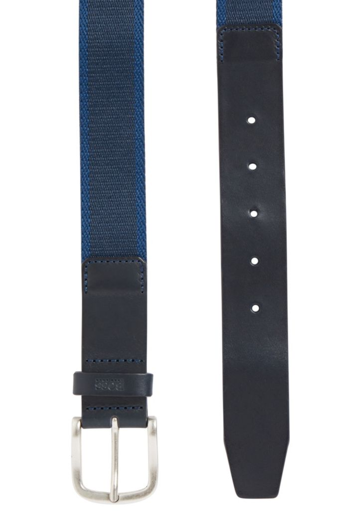 Reversible belt in fabric and leather