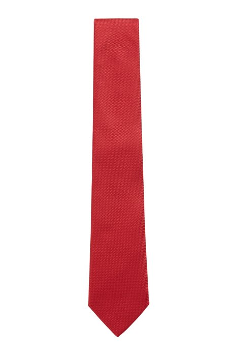 Italian-made tie in jacquard-woven silk, Red