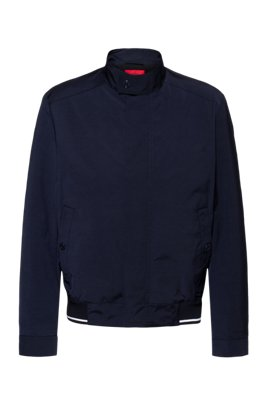 Slim-fit water-repellent bomber jacket with tipping stripe, Dark Blue