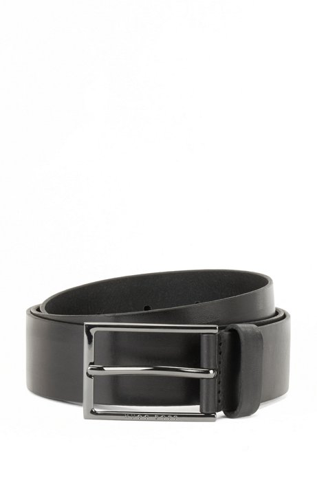 Italian-made belt in vegetable-tanned leather, Black