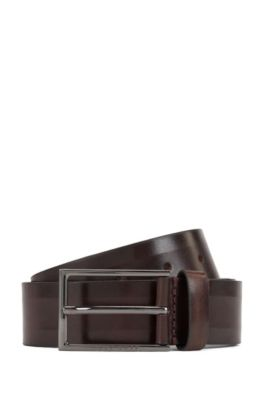 Italian-made belt in vegetable-tanned leather, Dark Brown