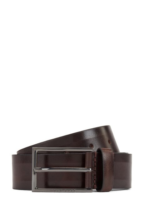 Italian-made belt in vegetable-tanned leather, Dark Brown