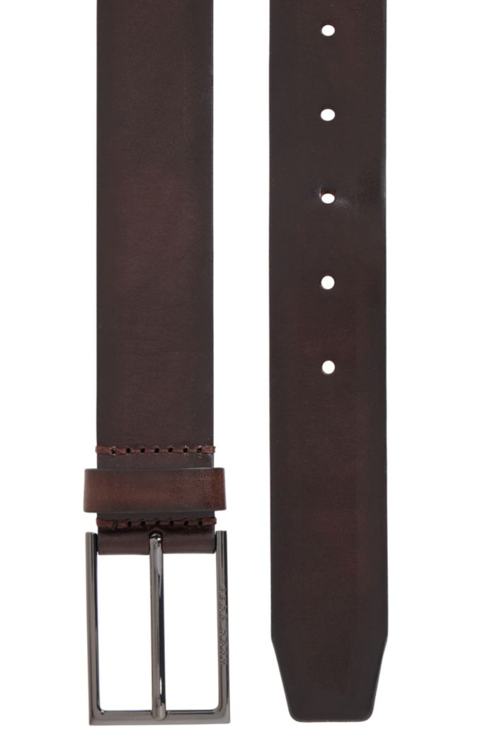 Italian-made belt in vegetable-tanned leather