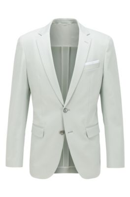 Slim-fit jacket in stretch cotton with pocket square, Light Green