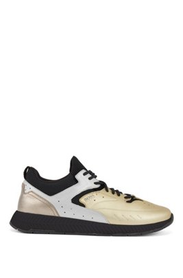 Running-style sneakers with metallic-leather uppers, Gold