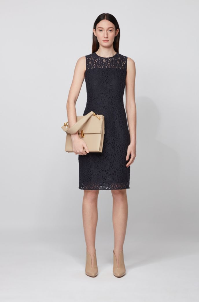 Sleeveless dress in cotton-blend floral lace