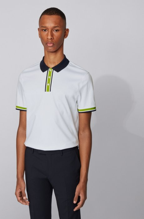 Slim-fit polo shirt in cotton with block stripes, White