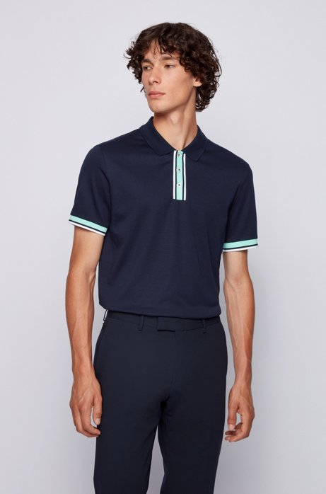 Slim-fit polo shirt in cotton with block stripes, Dark Blue